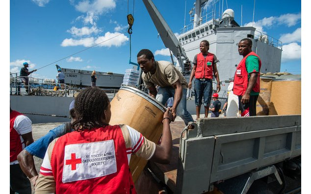 Receipt of the cargo by the staff of the Red Cross of Saint Vincent and the Grenadines,
