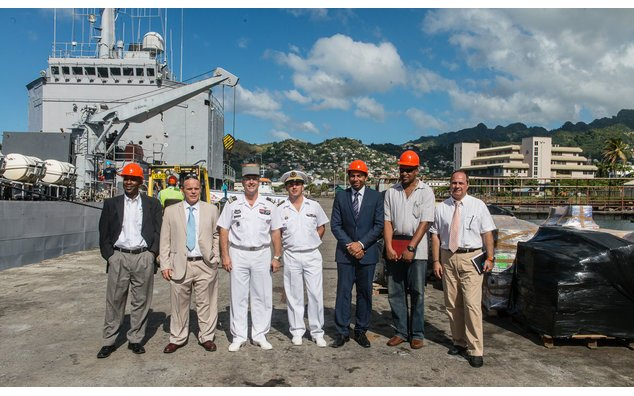 The Minister of Foreign Affairs, Mr. Camillo Gonsalves, Colonel Hervé de SOLAGES, Defence Attaché non resident, the Commander of the BATRAL Cyril REY, Jean-Luc MURE, Cultural Advisor and Regional Cooperation and François TRUCHOT, French Honorary Consul,